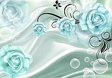 wandmotiv24 Fototapete türkis Blüten Stofftuch