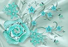 wandmotiv24 Fototapete türkis Blume Blätter M