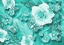 wandmotiv24 Fototapete türkis Blumen Diamanten