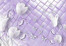 wandmotiv24 Fototapete Tulpen Weiss Schmeterlinge