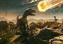 wandmotiv24 Fototapete Velociraptor Dino mit Komet