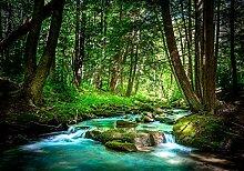 wandmotiv24 Fototapete Wäldchen mit Fluss, XL 350