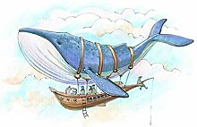 wandmotiv24 Fototapete Wal Schiff Fantasie Himmel,