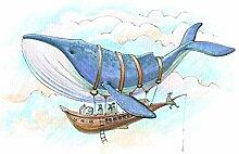 wandmotiv24 Fototapete Wal Schiff Fantasie Himmel