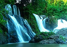 wandmotiv24 Fototapete Wald mit Wasserfall XL 350