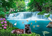 wandmotiv24 Fototapete Wasserfall Dschungel, XS