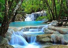 wandmotiv24 Fototapete Wasserfall im Wald Größe: