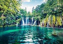 wandmotiv24 Fototapete Wasserfall mit See, L 300 x