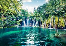 wandmotiv24 Fototapete Wasserfall mit See XL 350 x