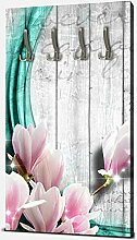 wandmotiv24 Garderobe Holz Blüten türkis