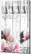 wandmotiv24 Garderobe Holz rosa Blüten Hochformat