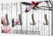 wandmotiv24 Garderobe Holz rosa Blüten Querformat