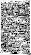 wandmotiv24 Garderobe Natursteinmauer Grau