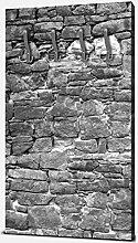 wandmotiv24 Garderobe Natursteinmaur Grau
