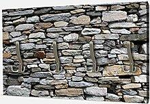 wandmotiv24 Garderobe Steinmauer Grau Querformat -