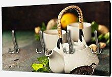wandmotiv24 Garderobe Teekanne und Tasse Tee mit