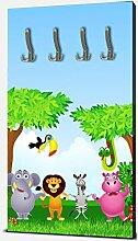 wandmotiv24 Garderobe Tiergruppe Kinder