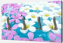 wandmotiv24 Garderobe Weiße und rosa Blumen