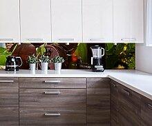 wandmotiv24 Küchenrückwand Flasche und Glas mit