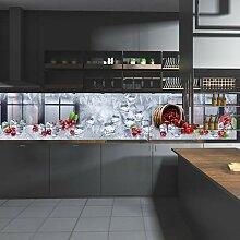 wandmotiv24 Küchenrückwand Kirschen Korb EIS