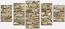 wandmotiv24 Leinwandbild Alte Steinmauer Variante