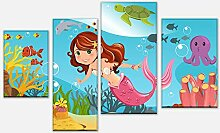 wandmotiv24 Leinwandbild kleine Meerjungfrau
