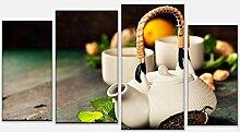 wandmotiv24 Leinwandbild mehrteilig Teekanne und