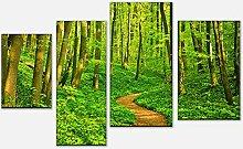 wandmotiv24 Leinwandbild Waldpfad Variante 3-180 x