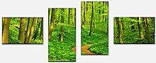 wandmotiv24 Leinwandbild Waldpfad Variante 4-100 x
