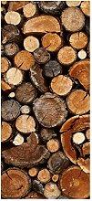 wandmotiv24 Türtapete Brennholz Haufen 90 x 200cm