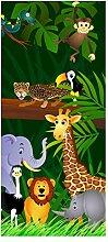 wandmotiv24 Türtapete Dschungeltiere 90 x 200cm