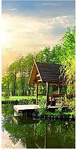 wandmotiv24 Türtapete Gartenlaube an kleinem See