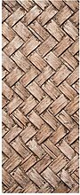 wandmotiv24 Türtapete Gewebtes Holz 80 x 200cm (B