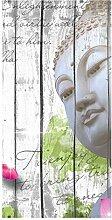 wandmotiv24 Türtapete Holz Blüten Buddha 100 x