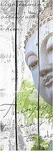 wandmotiv24 Türtapete Holz Blüten Buddha 70 x