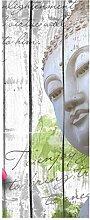 wandmotiv24 Türtapete Holz Blüten Buddha 80 x