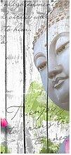wandmotiv24 Türtapete Holz Blüten Buddha 90 x