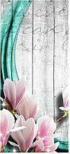 wandmotiv24 Türtapete Holz Blüten türkis 90 x