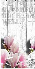 wandmotiv24 Türtapete Holz rosa Blüten 100 x