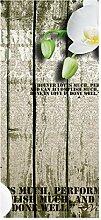 wandmotiv24 Türtapete Holz Zaun weiße Orchidee