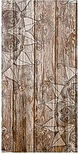 wandmotiv24 Türtapete Holzwand mit Mandalas