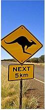 wandmotiv24 Türtapete Känguruschild 80 x 200cm