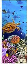 wandmotiv24 Türtapete Korallenriff mit Fischen 80
