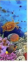 wandmotiv24 Türtapete Korallenriff mit Fischen