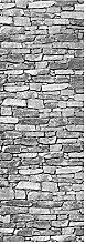 wandmotiv24 Türtapete Natursteinmauer Grau 70 x