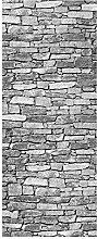 wandmotiv24 Türtapete Natursteinmauer Grau 80 x