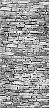 wandmotiv24 Türtapete Natursteinmauer Grau 90 x