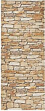 wandmotiv24 Türtapete Natursteinmauer Hell 80 x