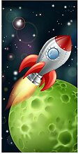 wandmotiv24 Türtapete Rakete im Weltall 100 x