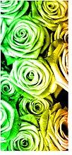 wandmotiv24 Türtapete Regenbogenrosenfeld Blüte